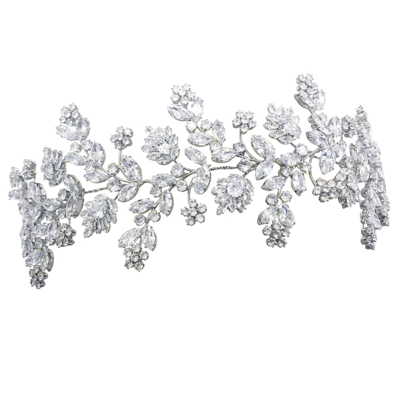 Cubic Zirconia Collection - Gatsby Style Opulence Headpiece - Silver 1