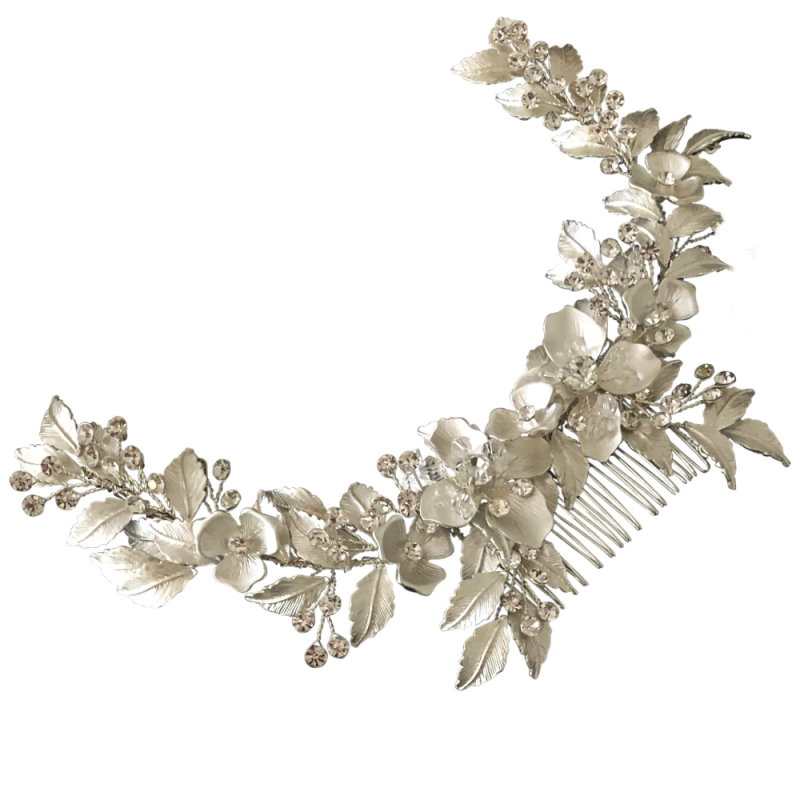Athena Collection - Floral Extravagance Headpiece - Silver 2