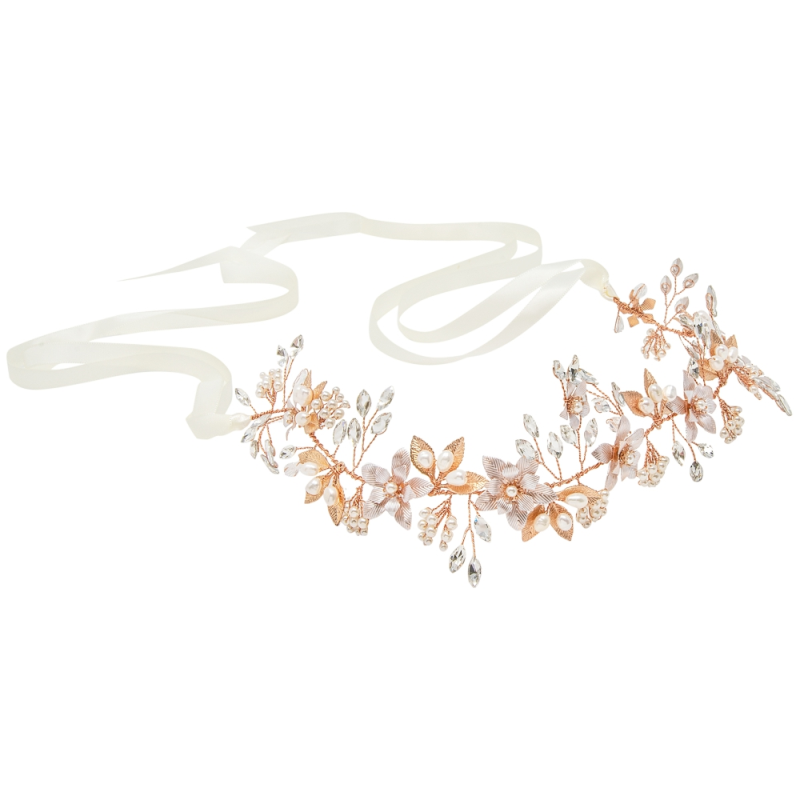 Athena Collection - Floral Romance Hair Vine - Rose Gold 2