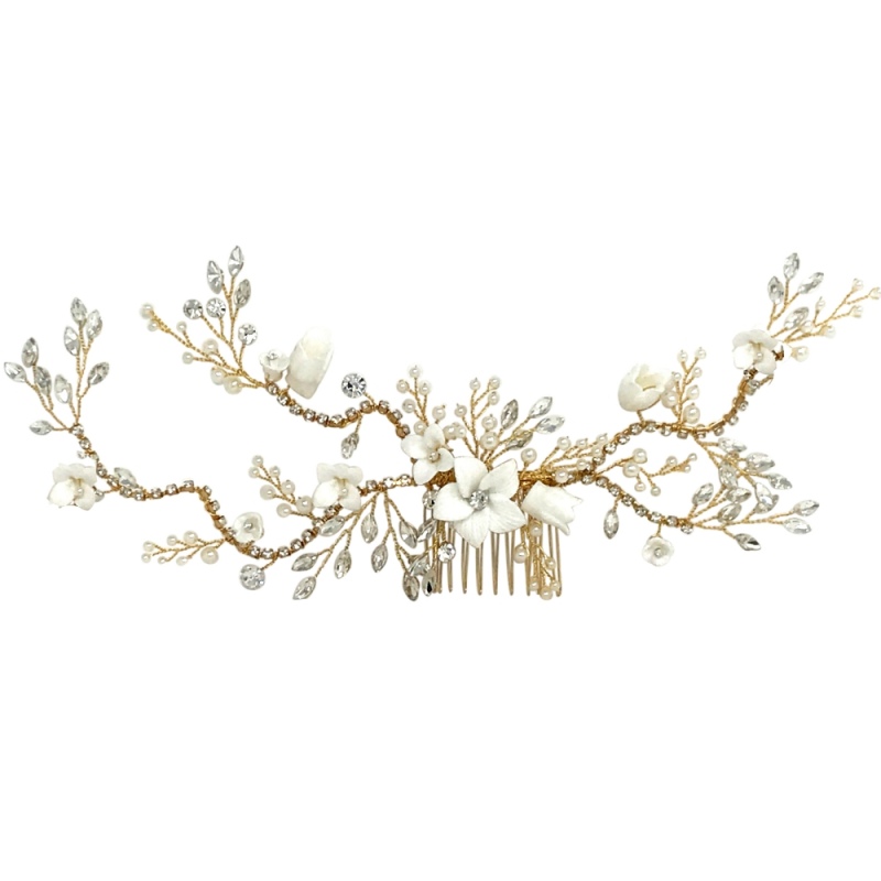 Athena Vintage Luxe Hair Comb - Gold 1