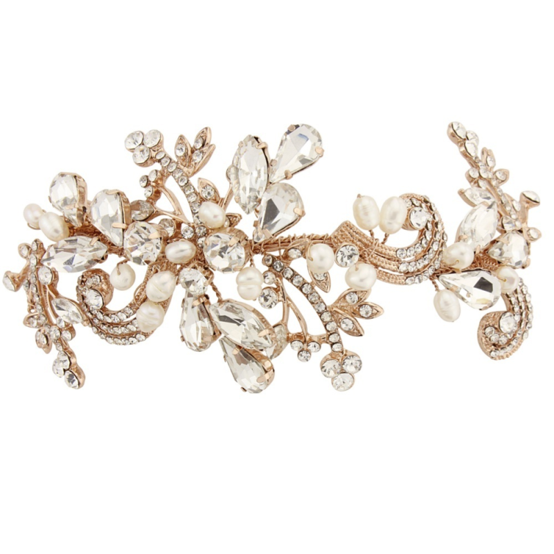 Sass B Collection - Elise Exquisite Flexible Headpiece - Rose Gold 1