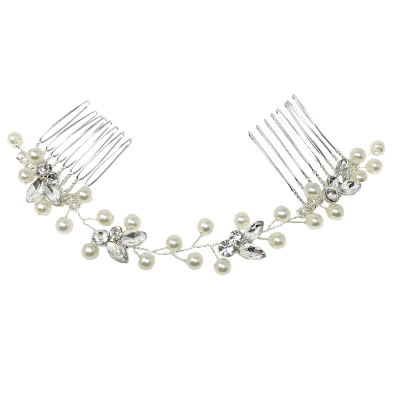 Athena Collection - Dainty Pearl Vine - Silver 1