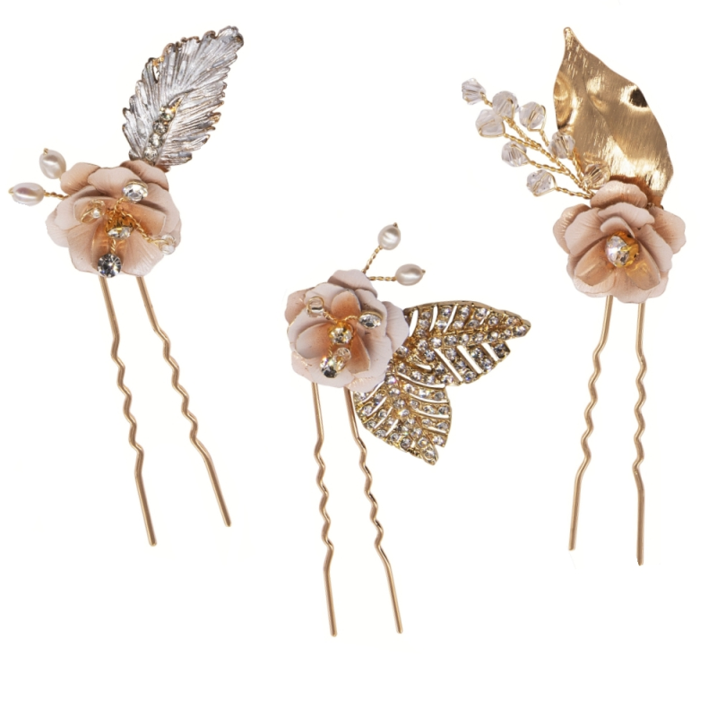 Athena Collection - Glitzy Pink Blush Hairpins - Gold 1