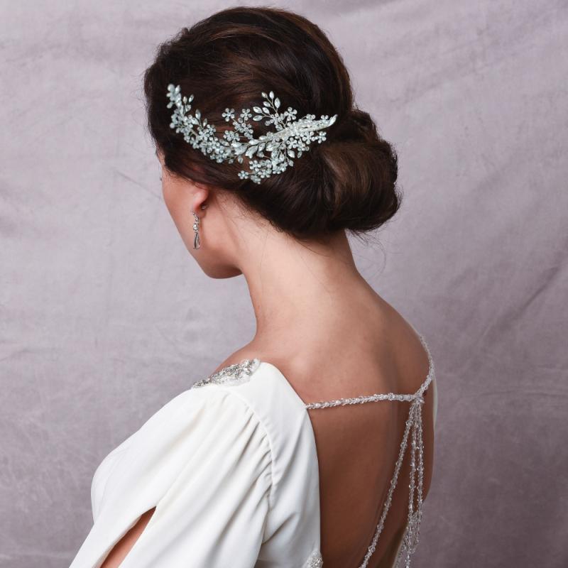 Athena Collection - Crystal Extravagance Headpiece - Silver 2