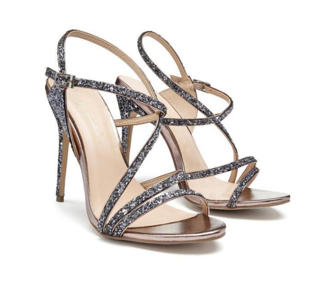 Pink Paradox Saffie - Black Glitter High Heel Asymmetric Strappy Sandal 3