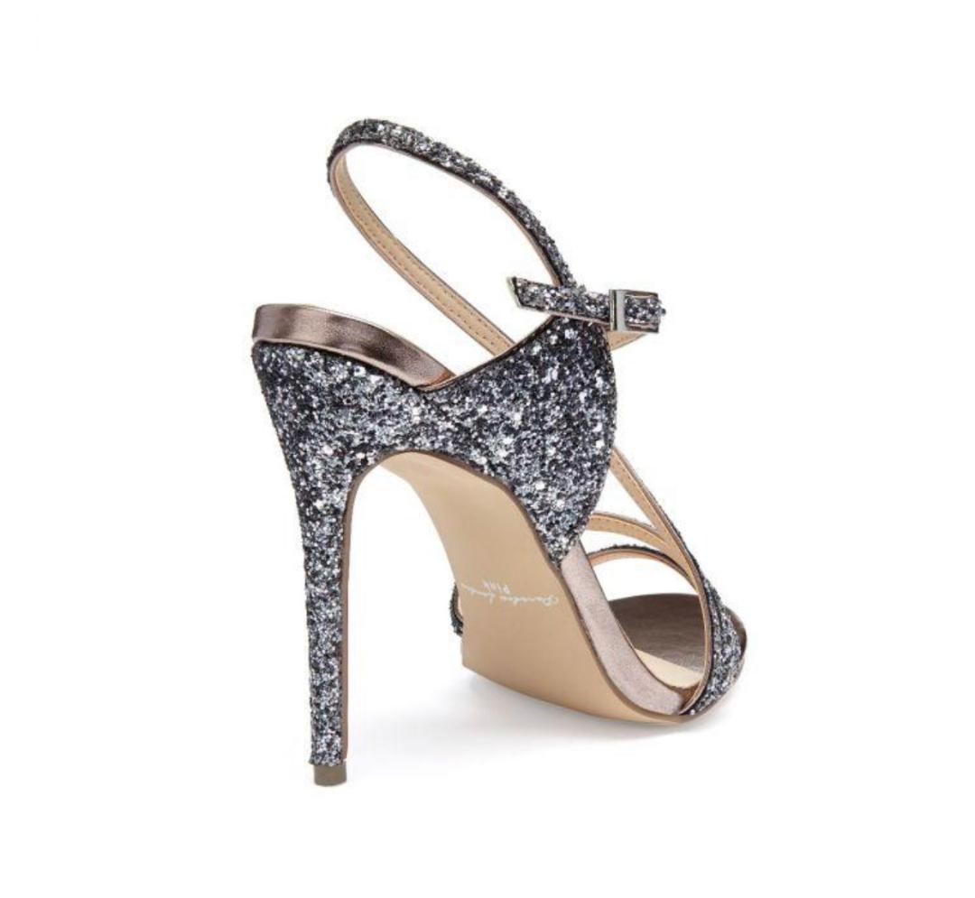 Pink Paradox Saffie - Black Glitter High Heel Asymmetric Strappy Sandal 2