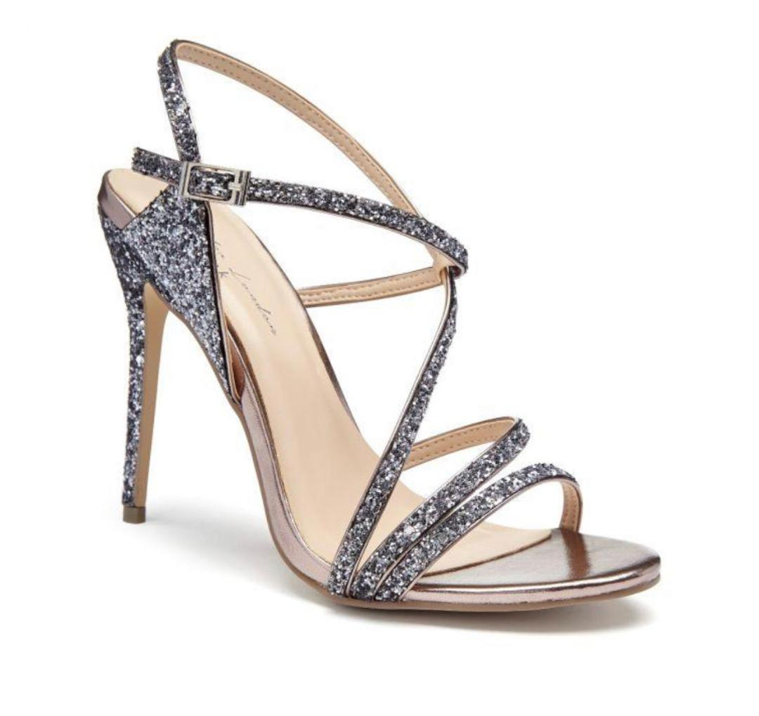 Pink Paradox Saffie - Black Glitter High Heel Asymmetric Strappy Sandal 1