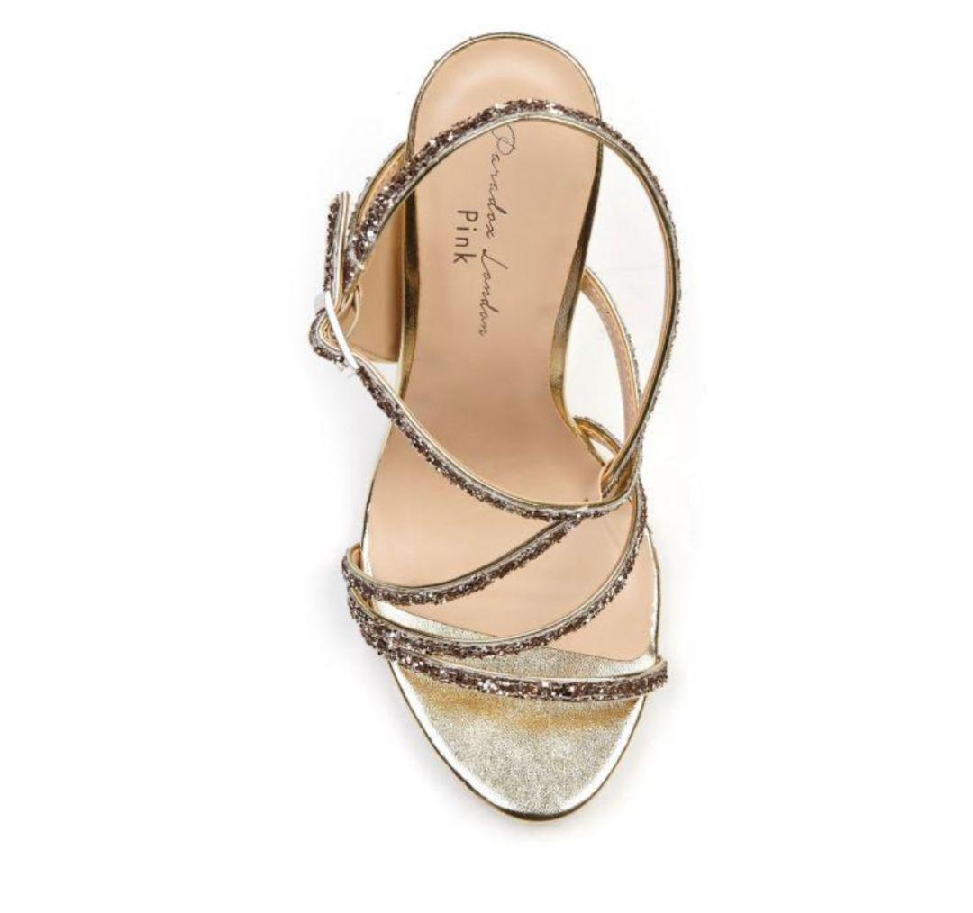 Pink Paradox Saffie - Champagne Glitter High Heel Asymmetric Strappy Sandal 2