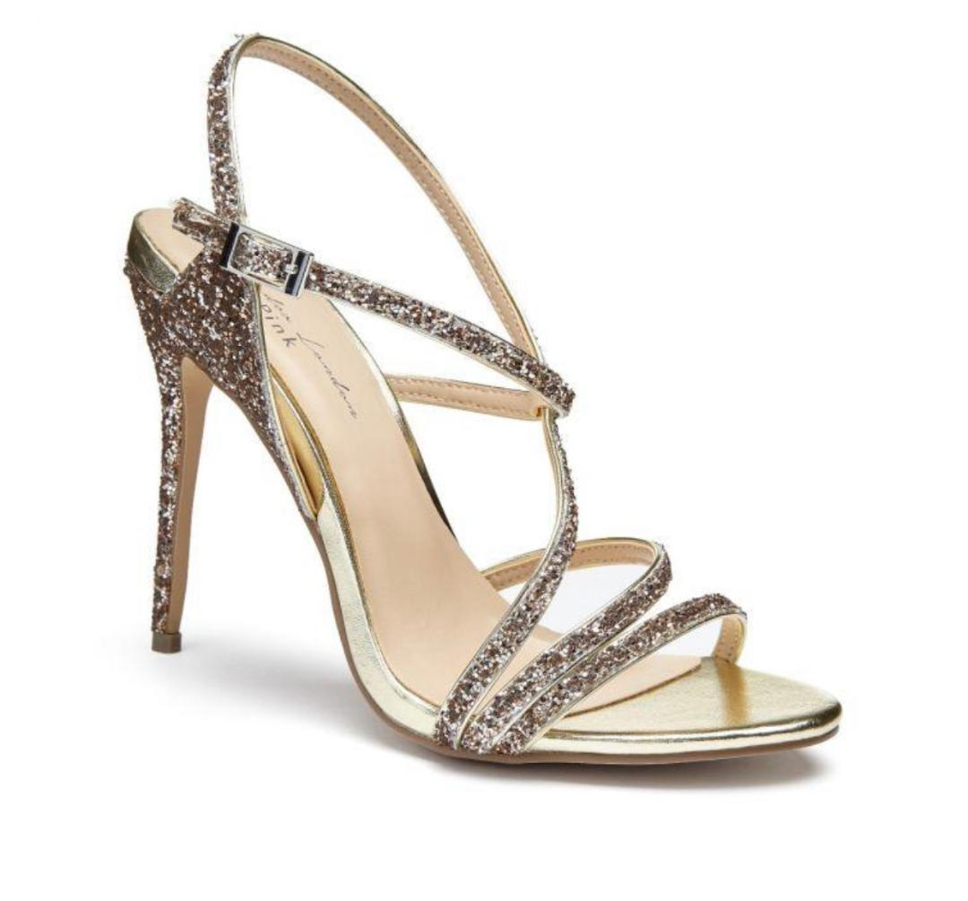 Pink Paradox Saffie - Pewter Glitter High Heel Asymmetric Strappy Sandal 1