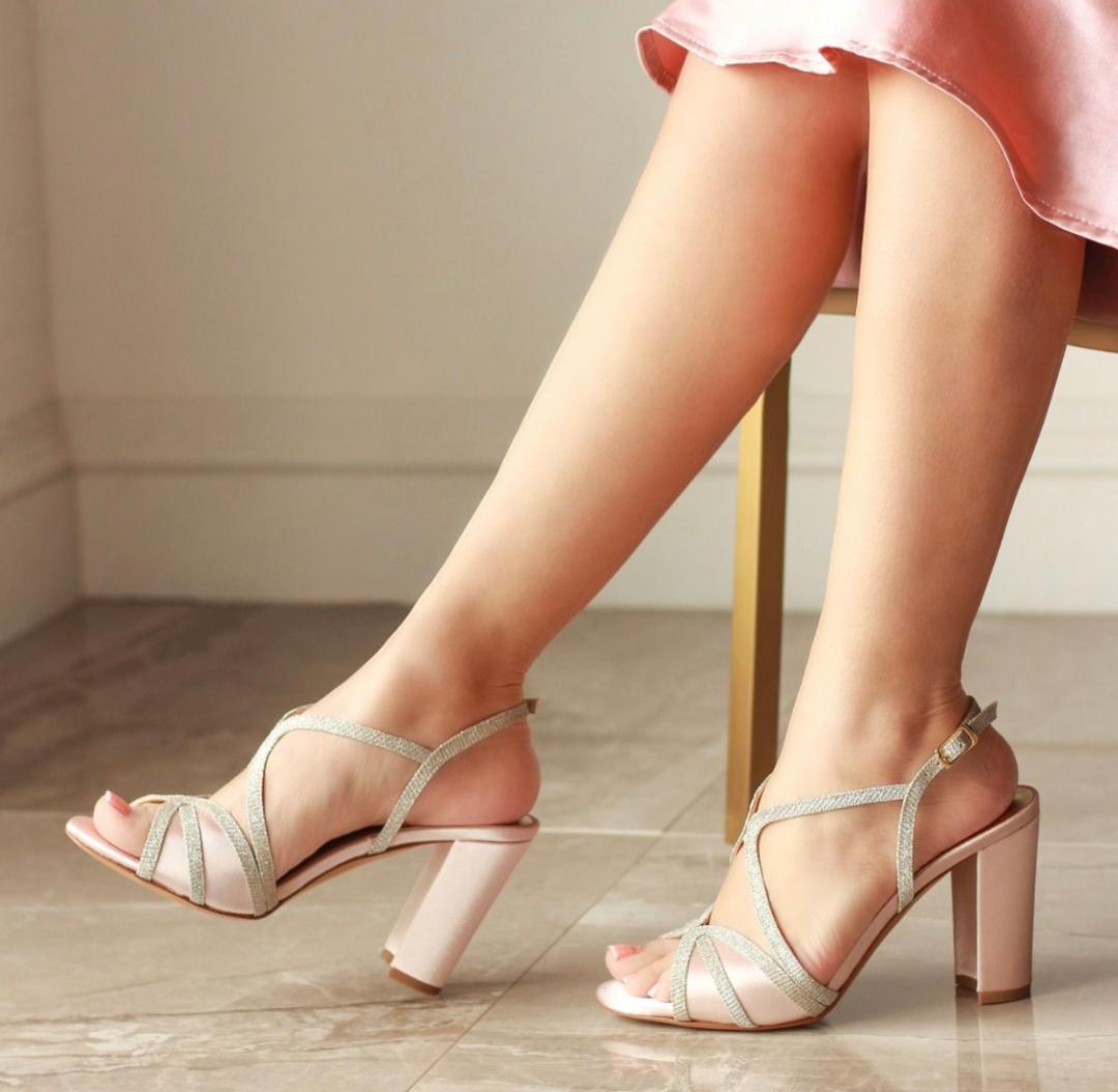 Pink Paradox Vittona - High Block Heel, Backless Sandal - Blush 2