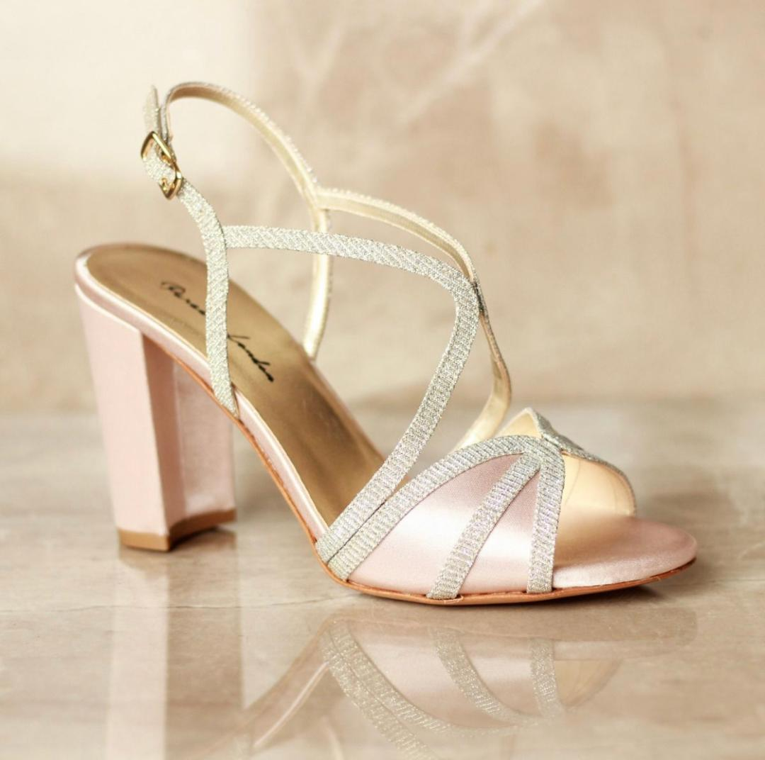 Pink Paradox Vittona - High Block Heel, Backless Sandal - Blush 1