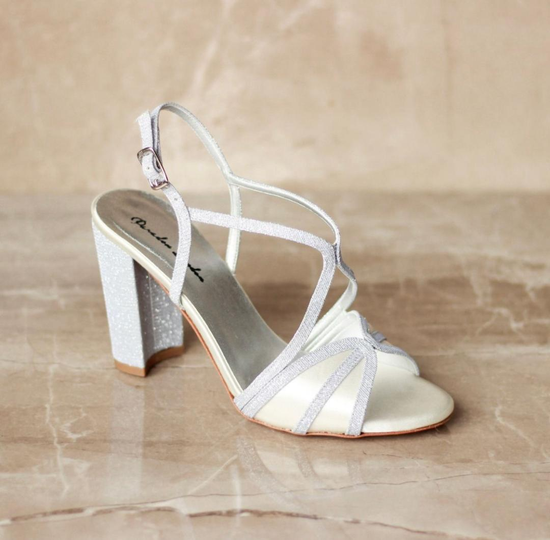 Pink Paradox Vittona - High Block Heel, Backless Sandal - Ivory 1