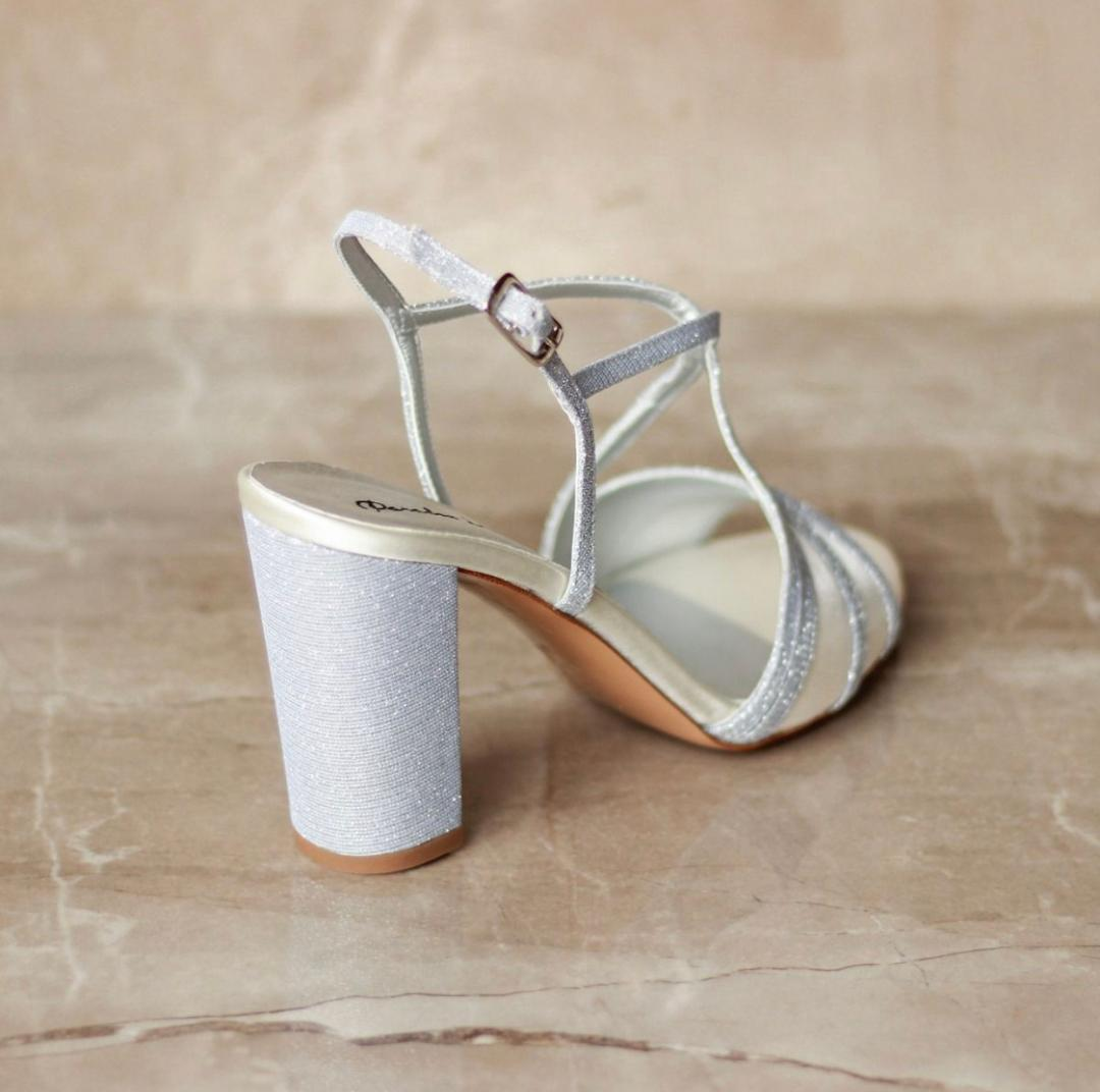 Pink Paradox Vittona - High Block Heel, Backless Sandal - Ivory 4