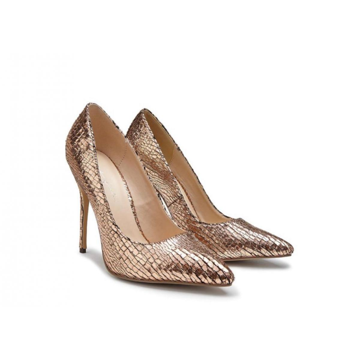 Pink Paradox Cairo - Rose Gold Metallic Python Print Court Shoe 3