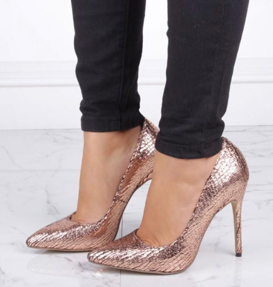 Pink Paradox Cairo - Rose Gold Metallic Python Print Court Shoe 2