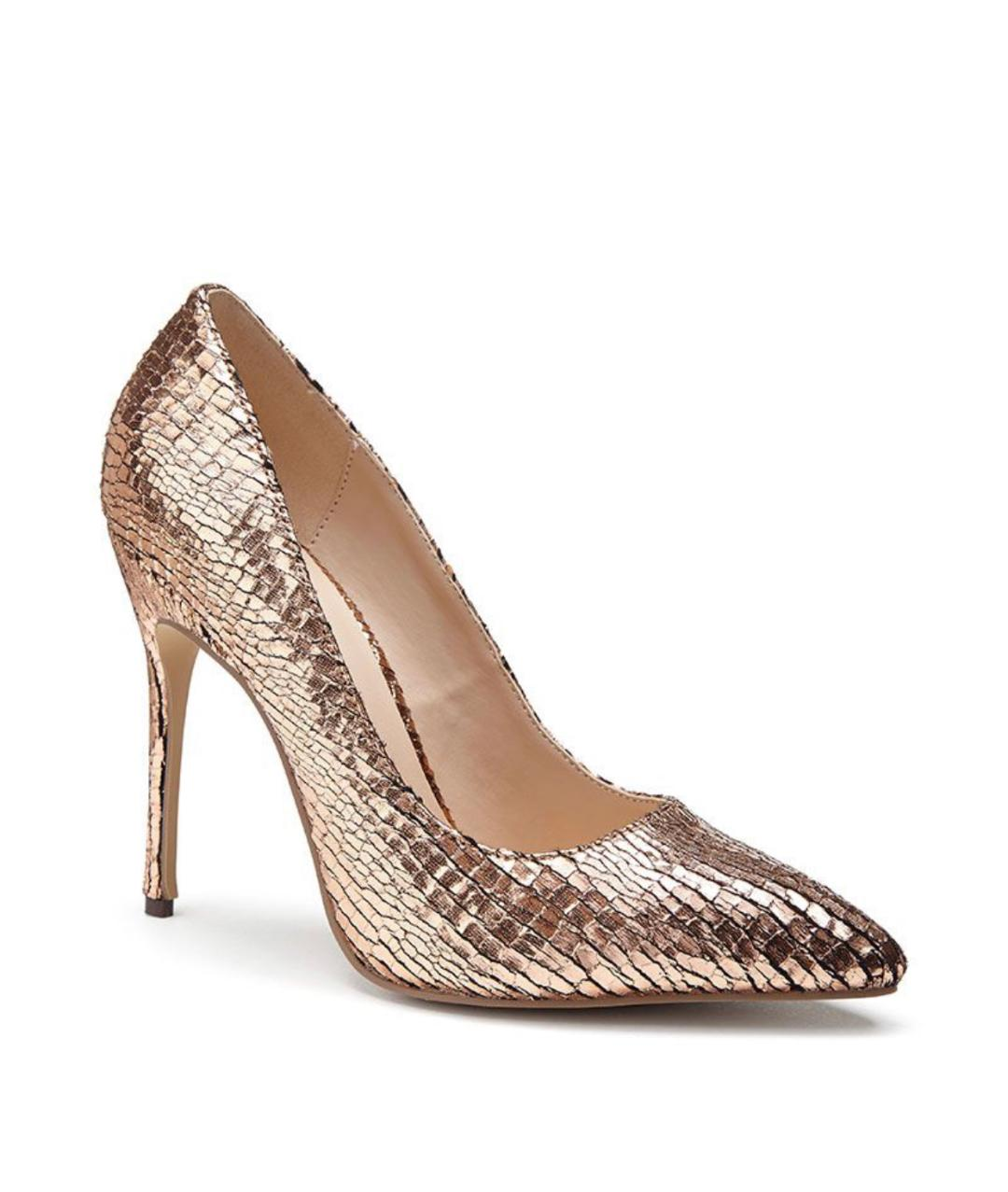 Pink Paradox Cairo - Rose Gold Metallic Python Print Court Shoe 1