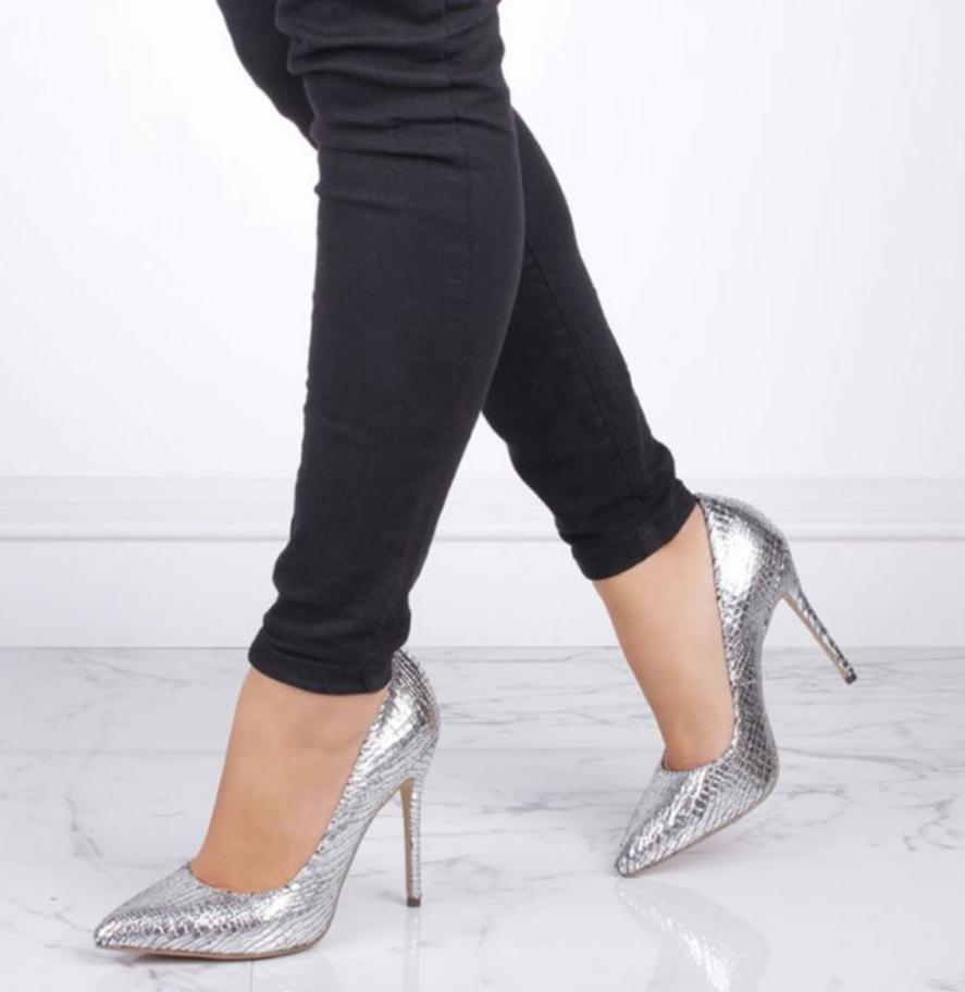 Pink Paradox Cairo - Silver Metallic Python Print Court Shoe 2
