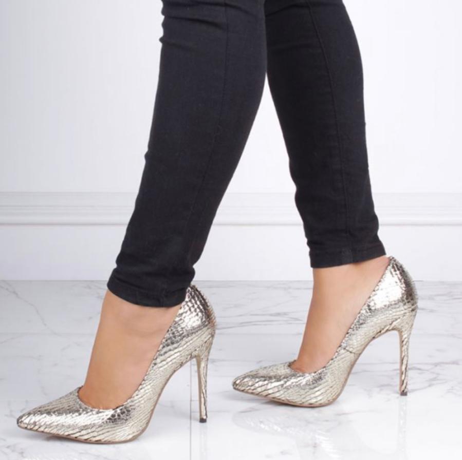 Pink Paradox Cairo - Gold Metallic Python Print Court Shoe 2