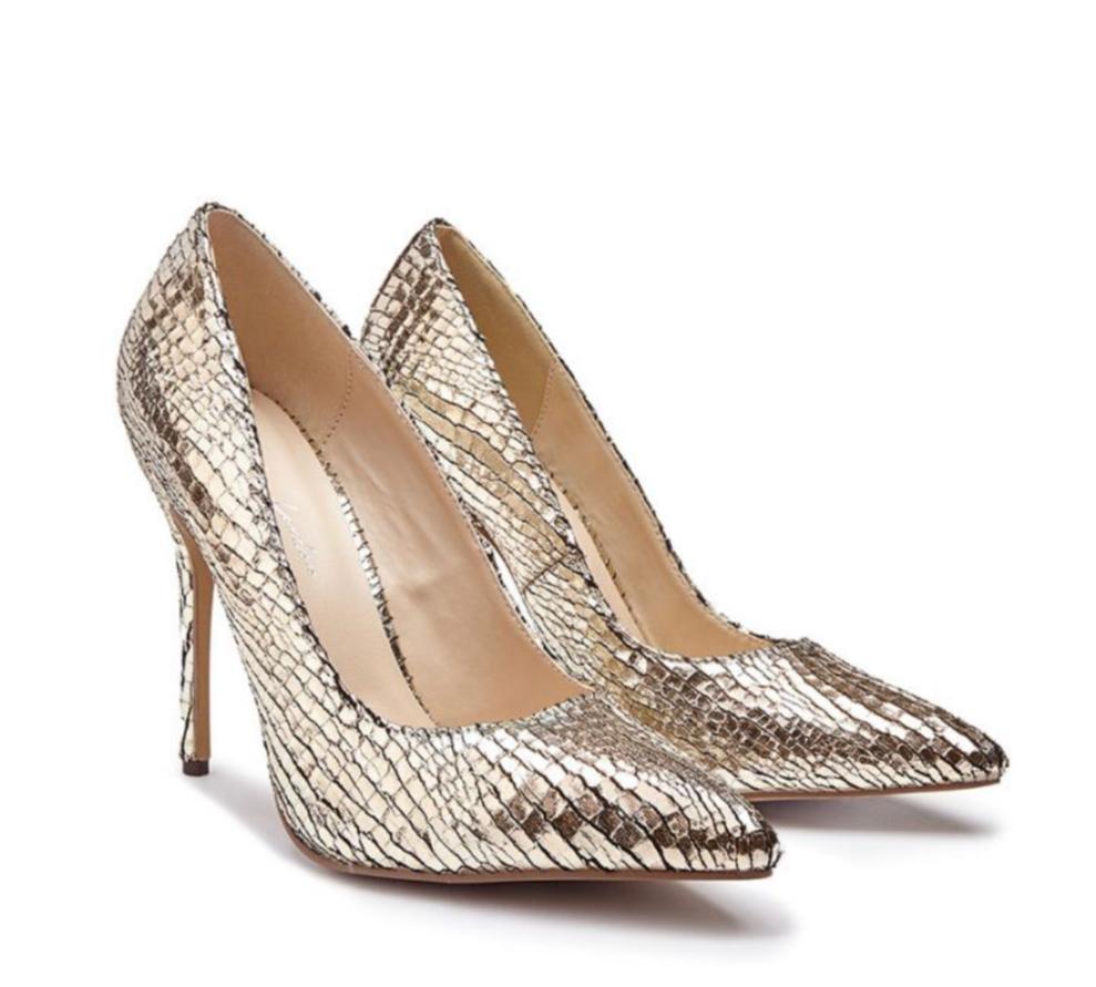 Pink Paradox Cairo - Gold Metallic Python Print Court Shoe 3