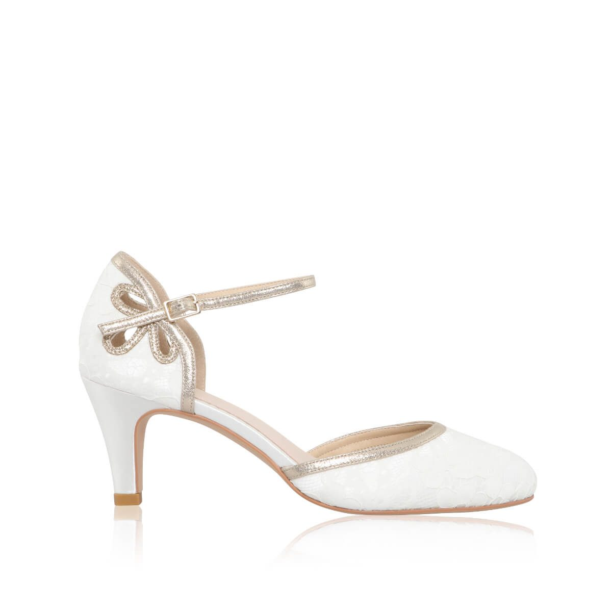 Perfect Bridal Nina Shoes - Ivory Lace/ Gold shimmer 1