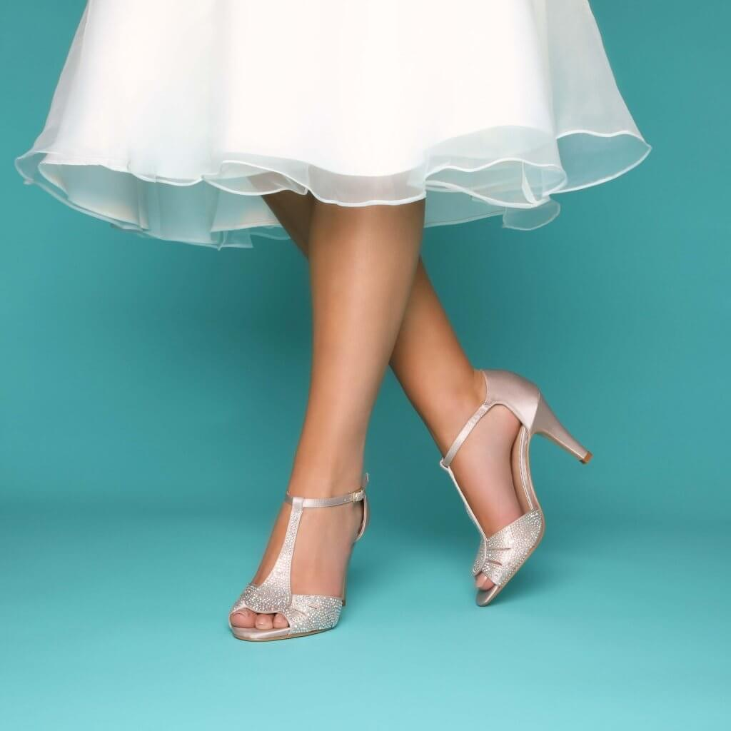 Perfect Bridal Perla Shoes - Nude Satin 2