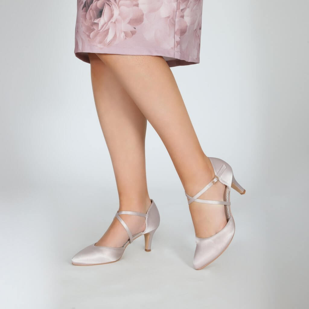 Perfect Bridal Sonya Shoes - Taupe Satin 2