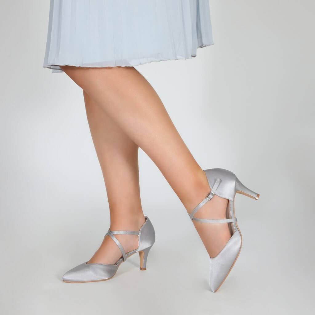 Perfect Bridal Sonya Shoes - Silver Satin 2
