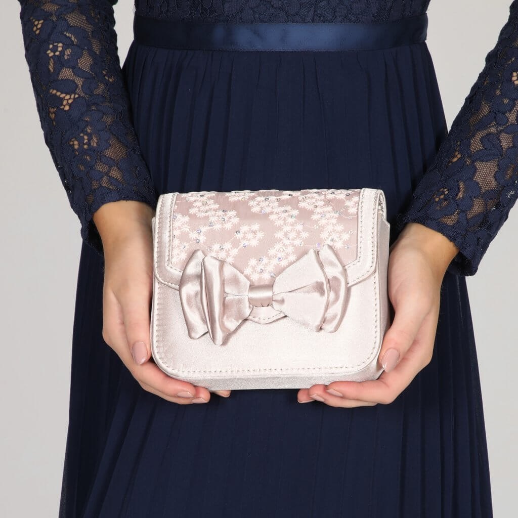 Perfect Bridal Pepper Bridal Bag - Taupe Satin/Lace 2