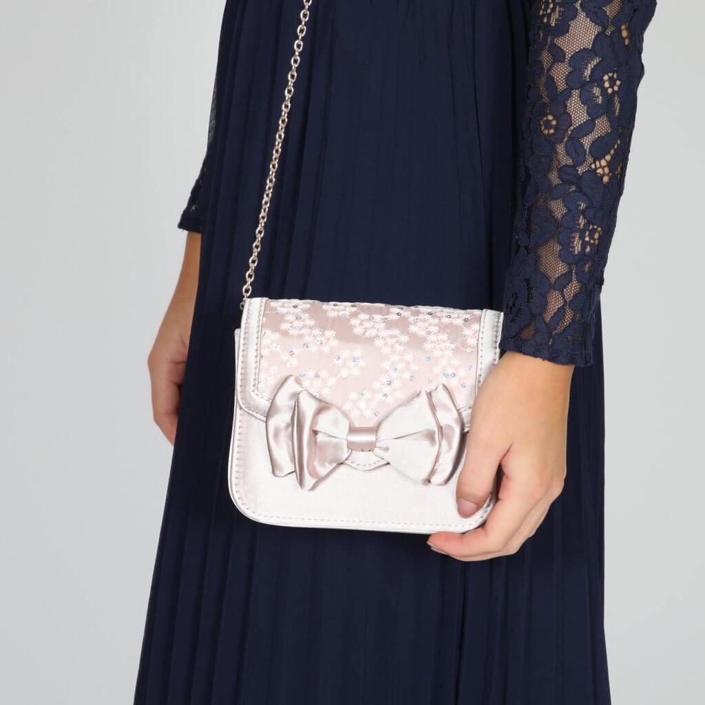 Perfect Bridal Pepper Bridal Bag - Taupe Satin/Lace 3