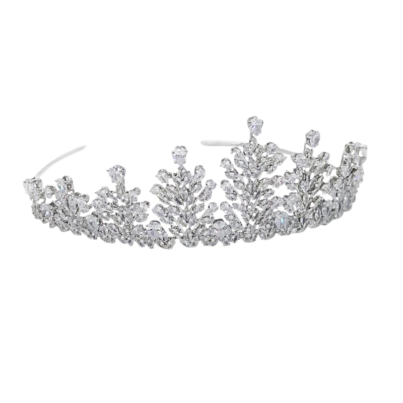 CZ Collection Crystal Encrusted Tiara - Silver 1