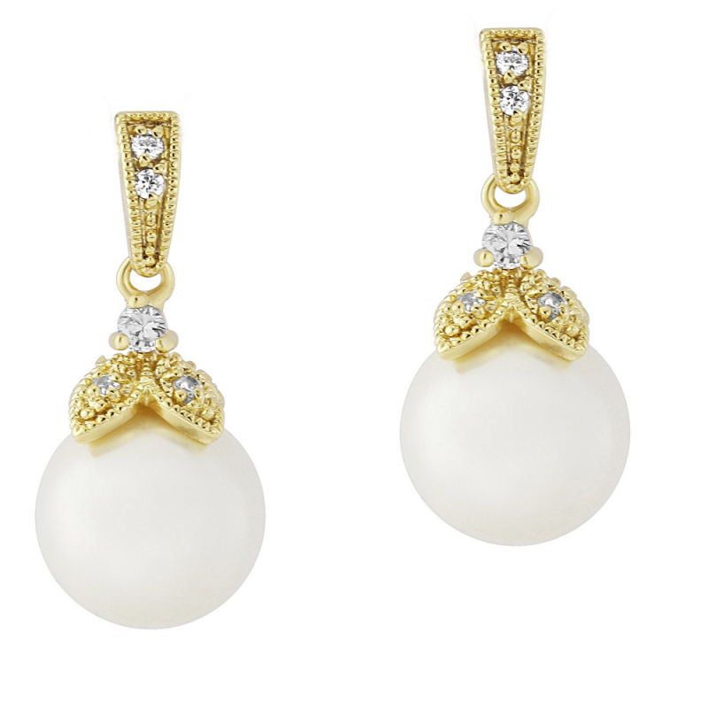 CZ Collection Opulence Pearl Earrings - Gold 1