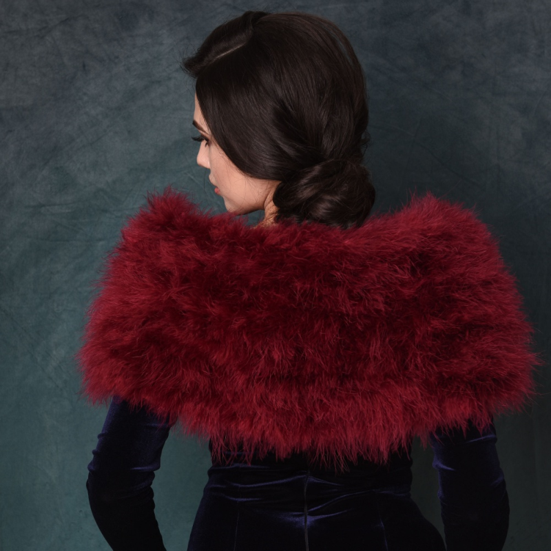 Sass B Collection - Vintage Inspired Marabou Feather Stole - Wine 3