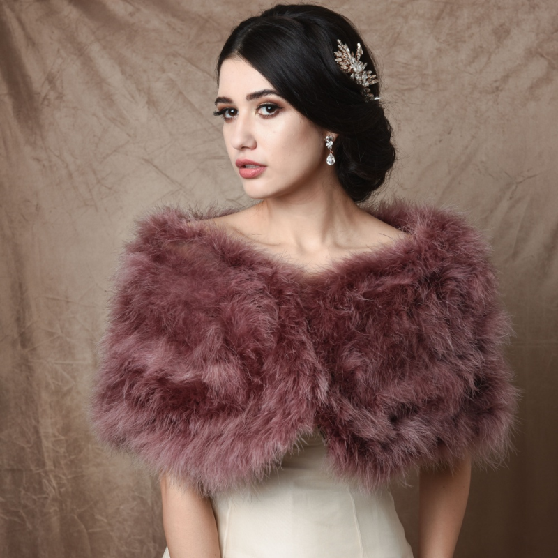 Athena Collection - Marabou Feather Wrap - Dusky Pink 1