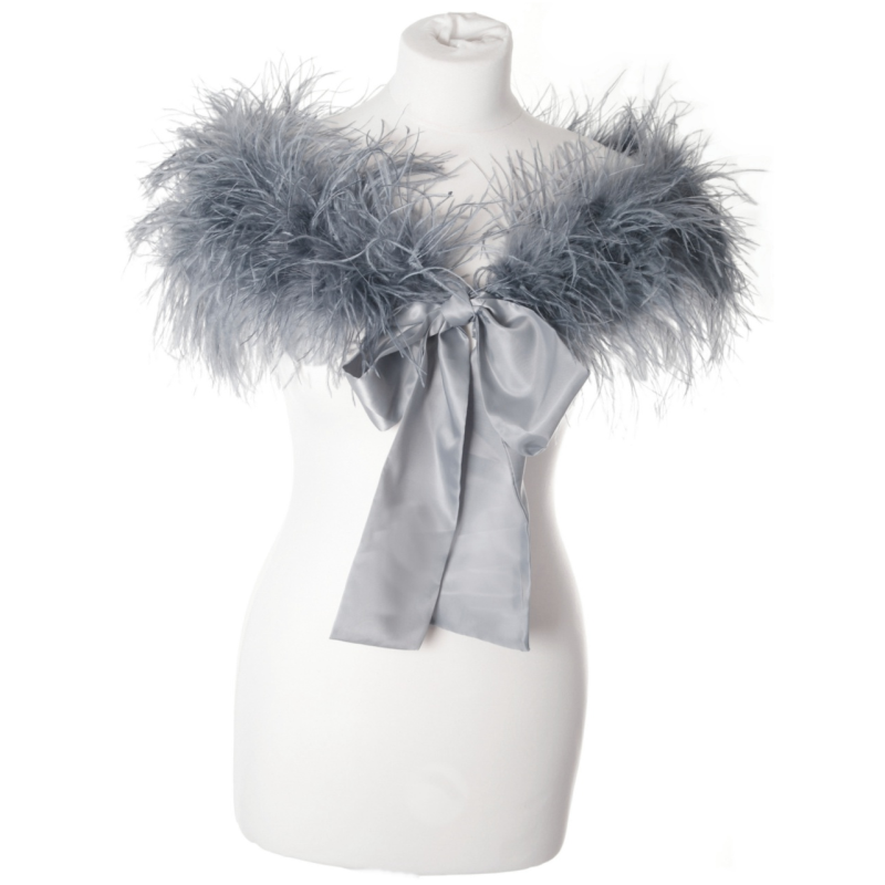 Sass B Ostrich Feather Stole - Grey 3