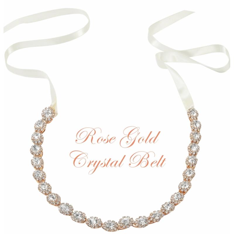 Athena Collection - Crystal Treasure Bridal Belt - Rose Gold 1