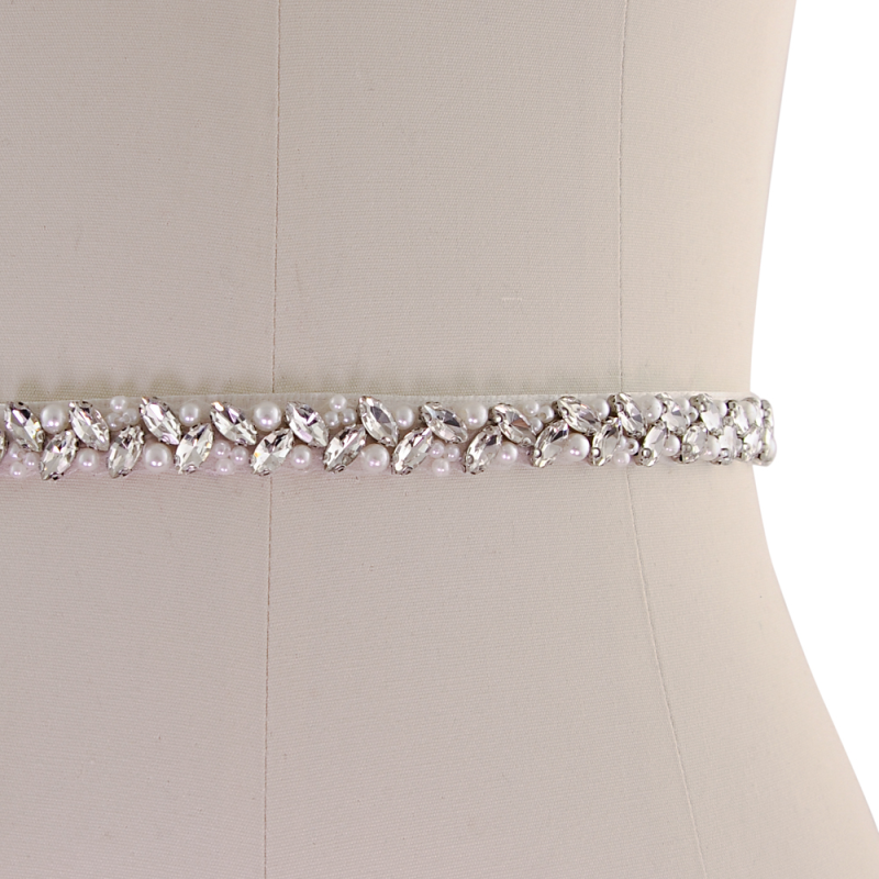 Athena Collection - Chic Crystal Bridal Belt - Ivory 3