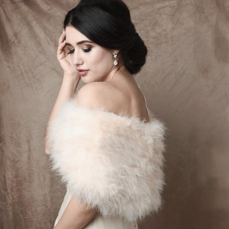 Athena Collection - Marabou Feather Wrap - Ivory 2