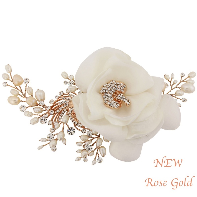 Sass B Miriam Crystal Flower Headpiece - Rose Gold 1