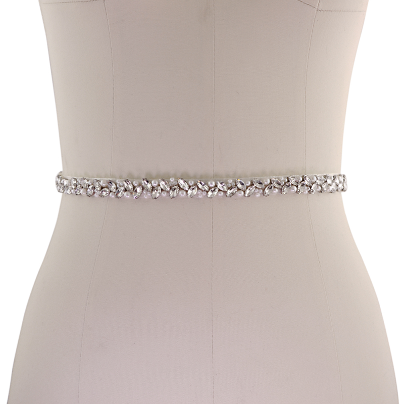 Athena Collection - Chic Crystal Bridal Belt - Ivory 2