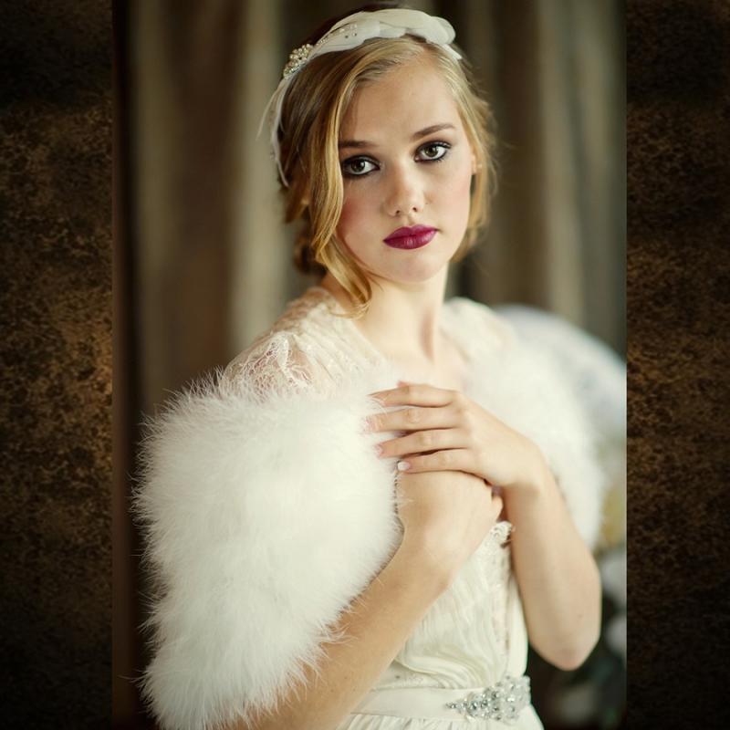 Athena Collection - Marabou Feather Wrap - Ivory 1