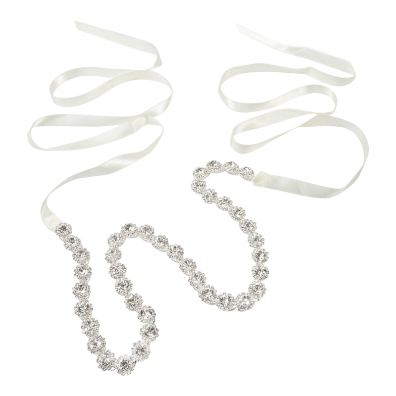 Athena Collection - Crystal Treasure Bridal Belt - Ivory 3
