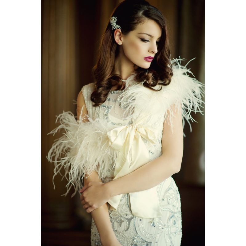 Sass B Ostrich Feather Stole - Ivory 1