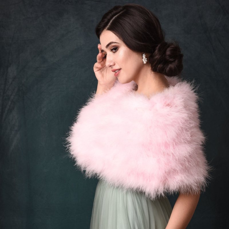 Athena Collection - Marabou Feather Wrap - Candy Floss Pink 2