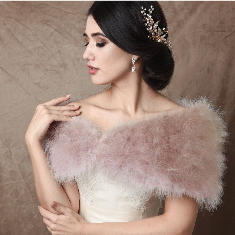 Sass B Collection - Vintage Inspired Marabou Feather Stole - Blush Pink 1