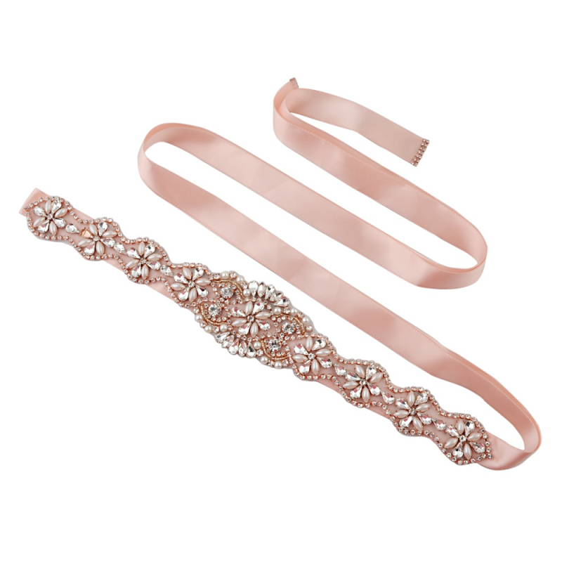 Athena Collection - Exquisite Wedding Belt - Rose Pink 1