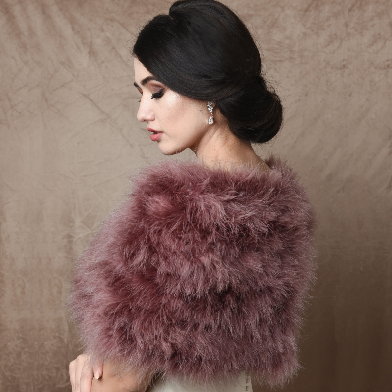 Athena Collection - Marabou Feather Wrap - Dusky Pink 2
