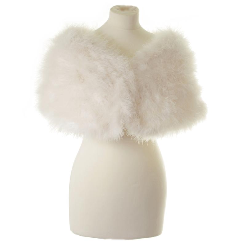 Athena Collection - Marabou Feather Wrap - Ivory 3