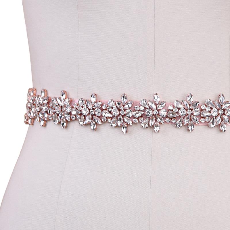 Athena Collection - Bejewelled Bridal Belt - Rose Pink 3