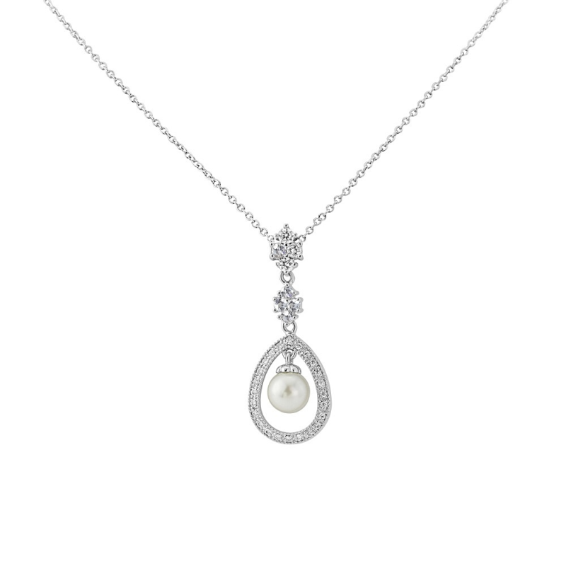 CZ Collection Simply Divine Necklace - Silver 1