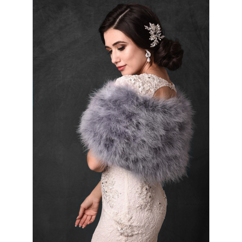 Sass B Collection - Vintage Inspired Marabou Feather Stole - Grey 2